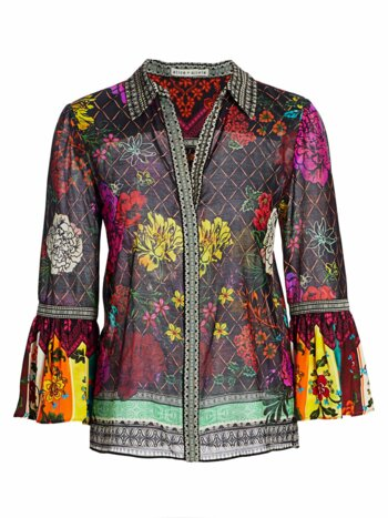 Rivera Floral & Diamond Print Silk-Blend Bell-Sleeve Blouse