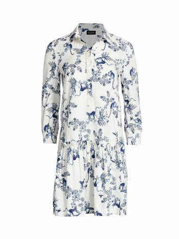 Tilly Monkey & Branches Poplin Mini Shirtdress
