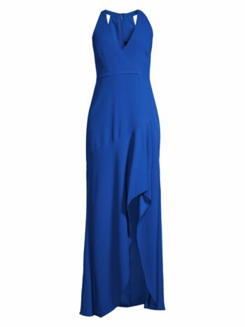 Sleeveless Halter Ruffle Gown