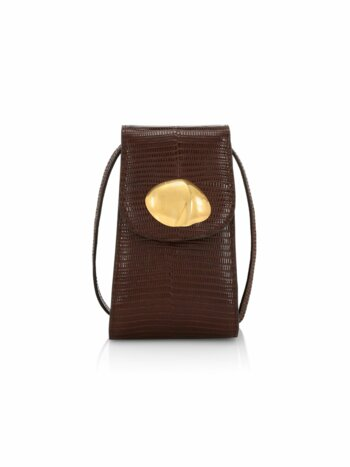 Camera Lizard-Embossed Leather Crossbody Bag