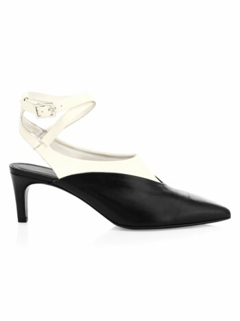 Nina Two-Tone Leather Ankle-Strap Pump