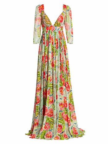 Puff-Sleeve Floral Printed Gown