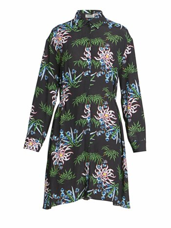 Abstract Floral Shirtdress