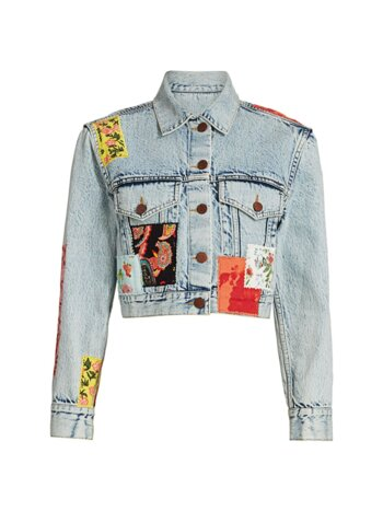 Patchwork Cropped Denim Jacket
