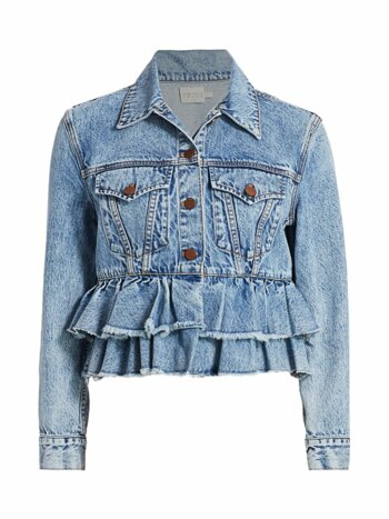 Fringed Peplum Cropped Denim Jacket