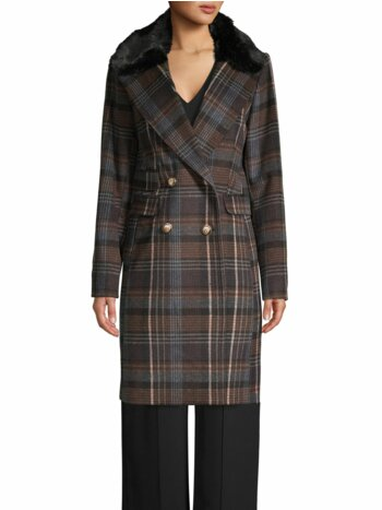 Faux Fur Collar Double-Breasted Plaid Coat
