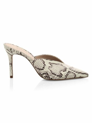 Charla Snakeskin-Embossed Leather Mules