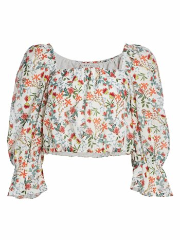 Floral Silk-Blend Cropped Blouson Top