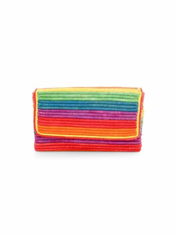 One Love Rainbow Raffia Clutch
