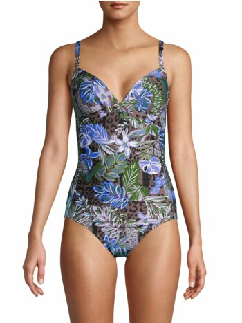 Tropical-Print One-Piece Suit